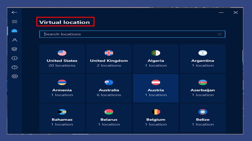 اختيار الموقع لتغيير الـip في هوت سبوت شيلد
