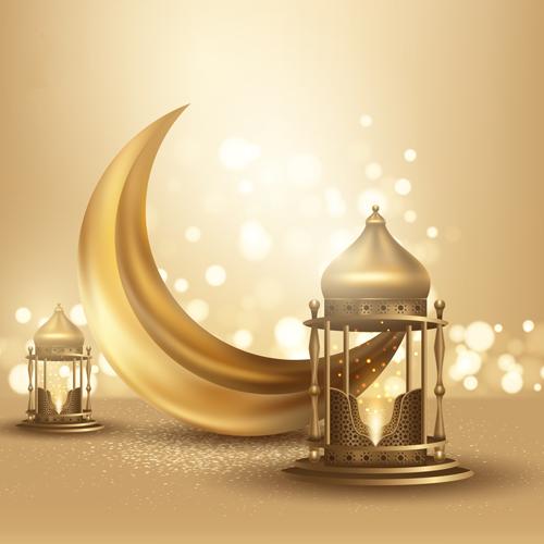 فانوس رمضان مع هلال رمضان